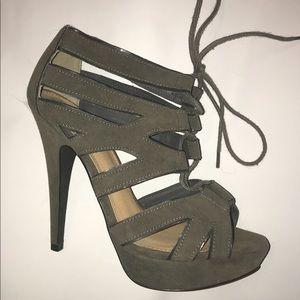 Marco Santi Gray Strappy Tie Up Heel Size 8